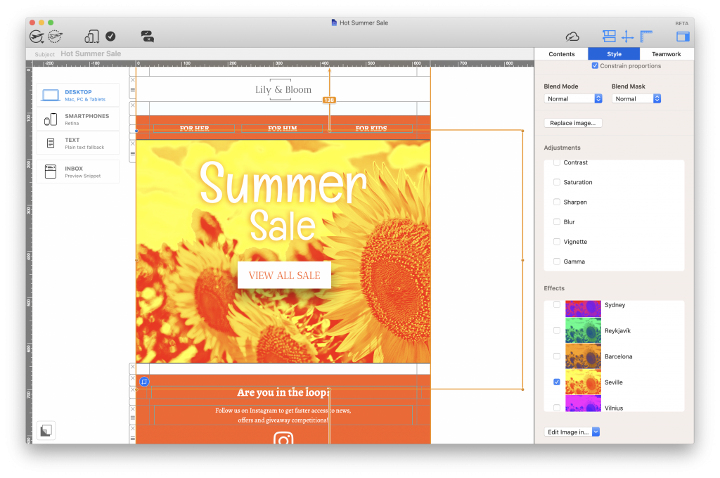 Duotone Filter applied to featured sales image in Mail Designer 35