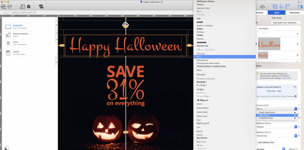 Halloween web font in Mail Designer 365 email design