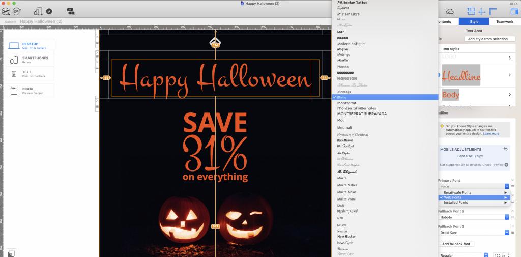 Halloween web font in Mail Designer 365 email design