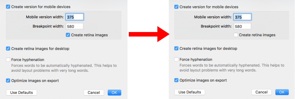 Deactivating Retina images for your template - Mail Designer