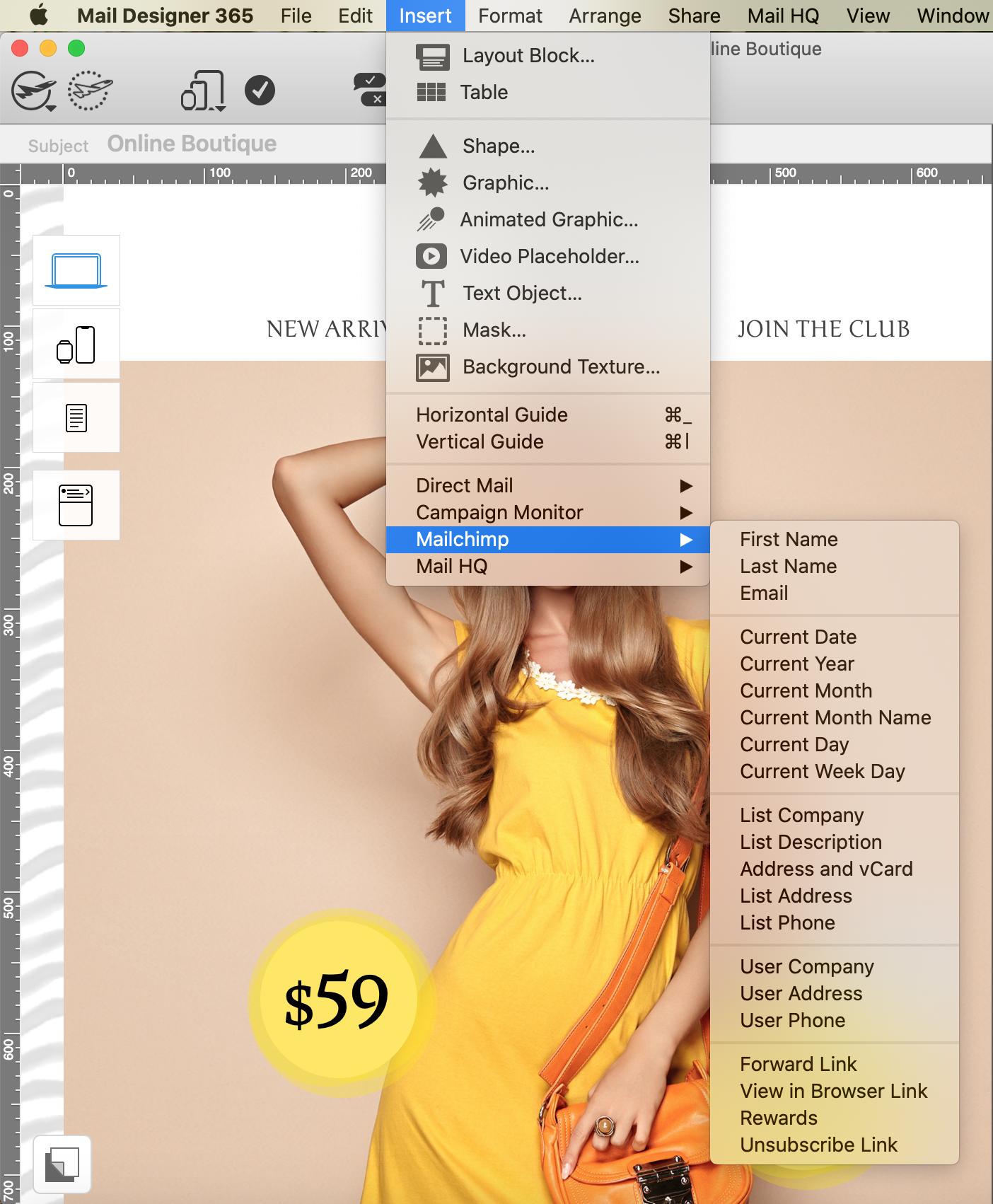 Adding a Mailchimp placeholder in Mail Designer 365