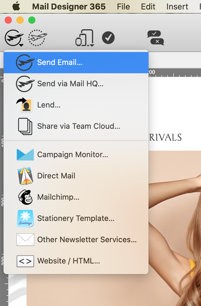 Sending via your own email account in Mail Designer 365