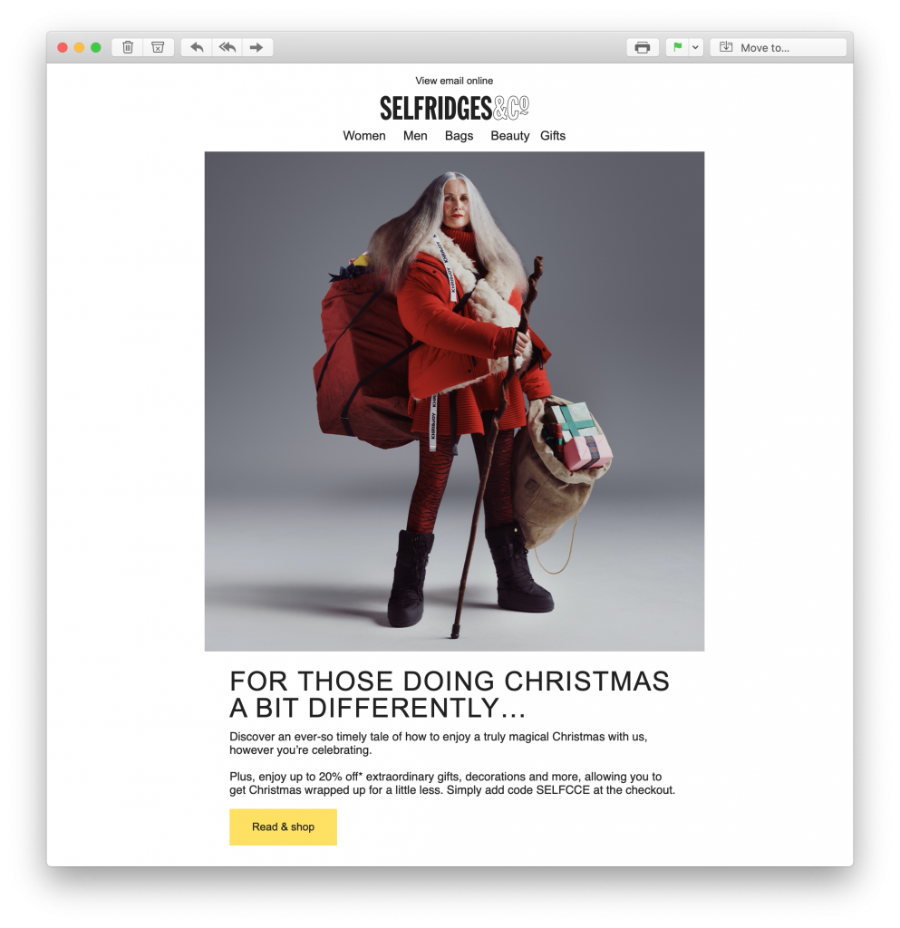 Email newsletter by Selfridge's