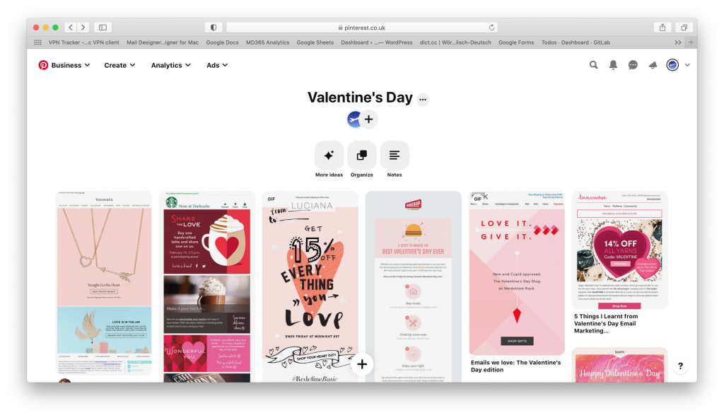 Pinterest board with valentines day designs - made by Mail Designer 365