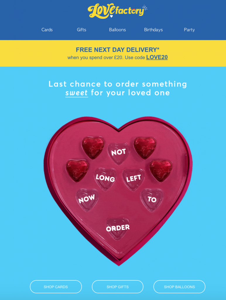 Valentine's Day email by Card Factory