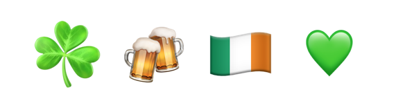 St Patrick's Day themed emojis