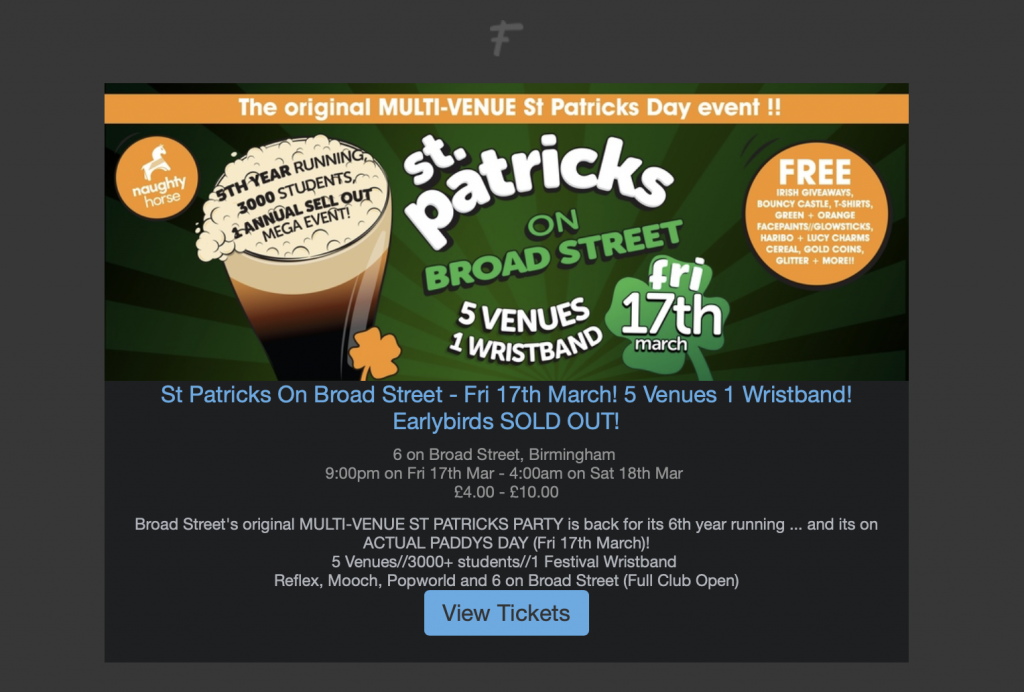 St Patrick's Day email for event promo