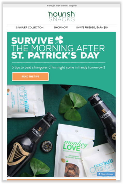 St Patrick's Day email by Nourish Snacks