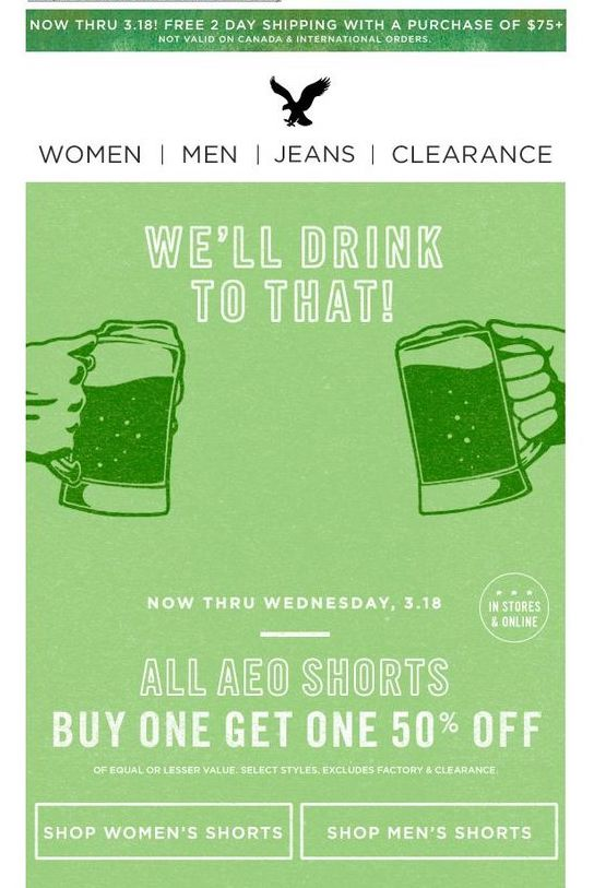 St Patrick's Day email design by American Eagle Outfitters