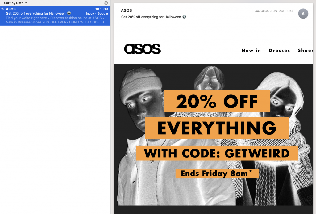 ASOS email subject line for Halloween