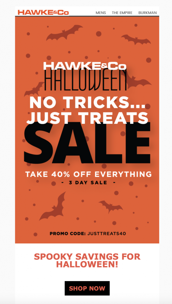 Halloween email design by Hawke & Co