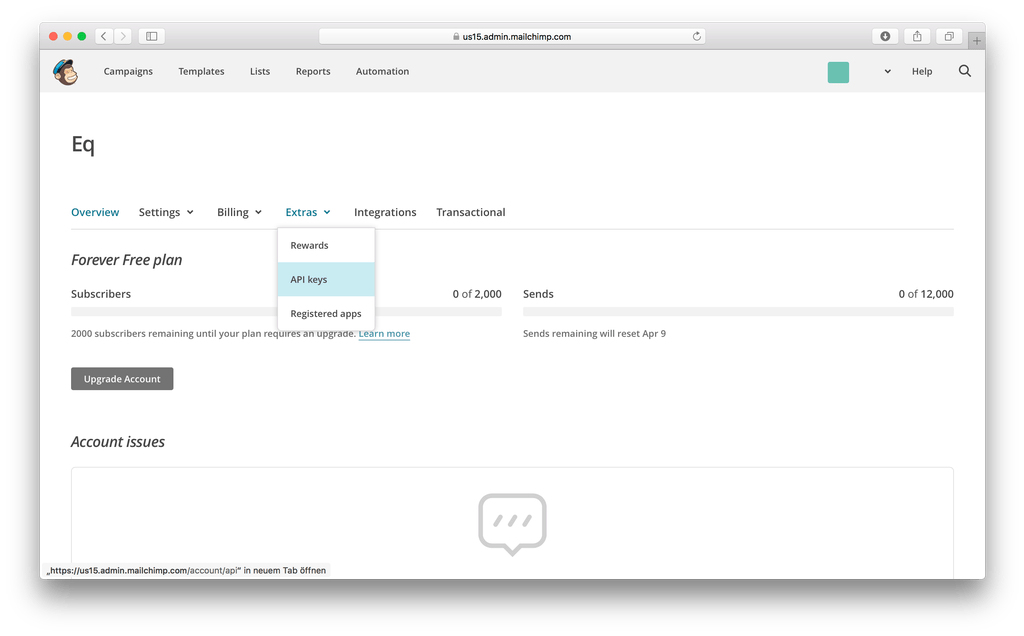 Generate your API key to export email templates to Mailchimp