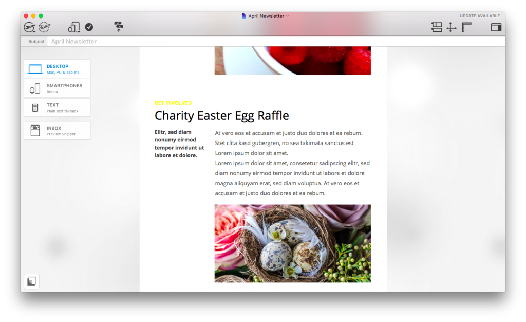 Mail Designer 365 internal newsletter ideas - Easter