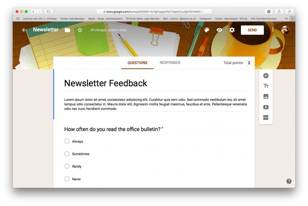 Mail Designer 365 internal newsletter ideas - Survey