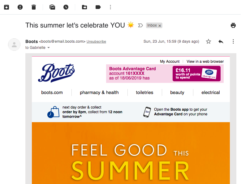 summer email subject line example by Boots