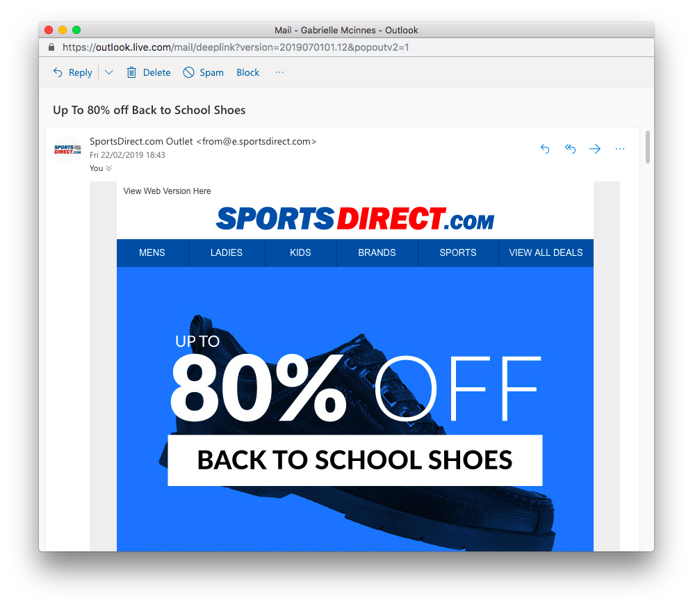Sports Direct email design