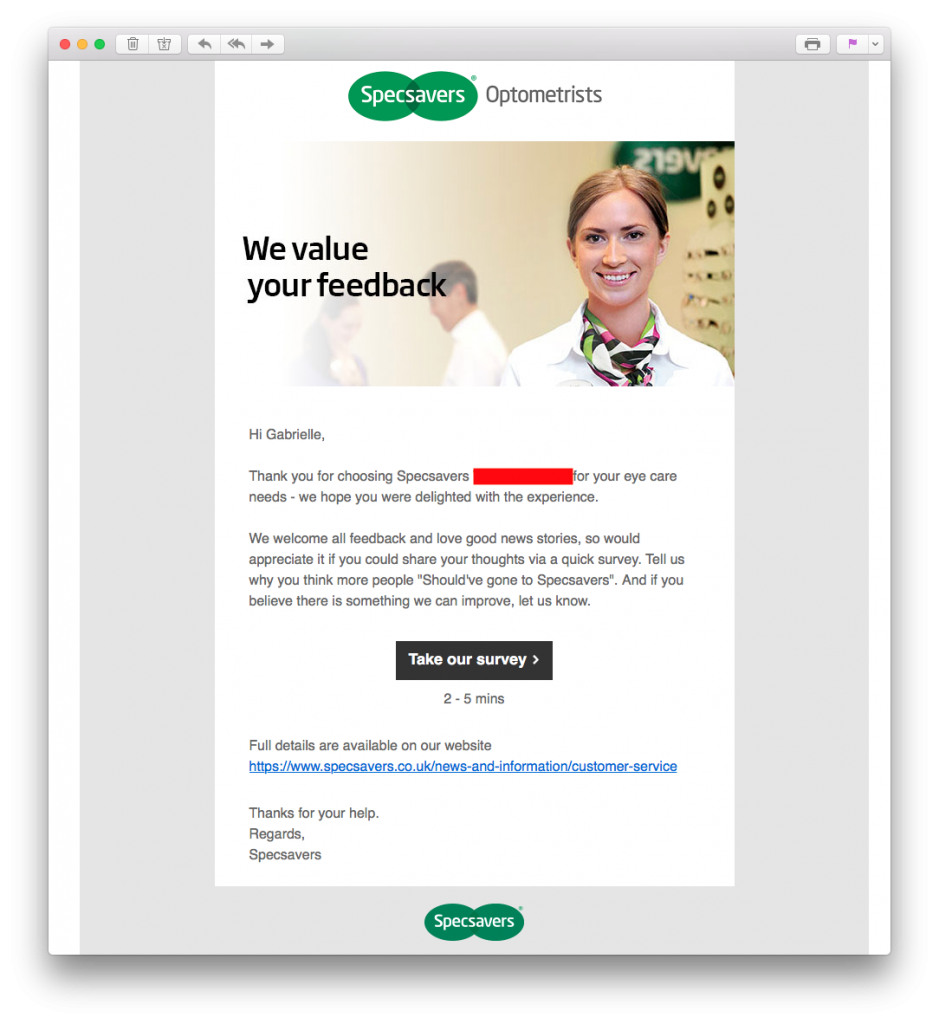 Specsavers customer feedback survey in email