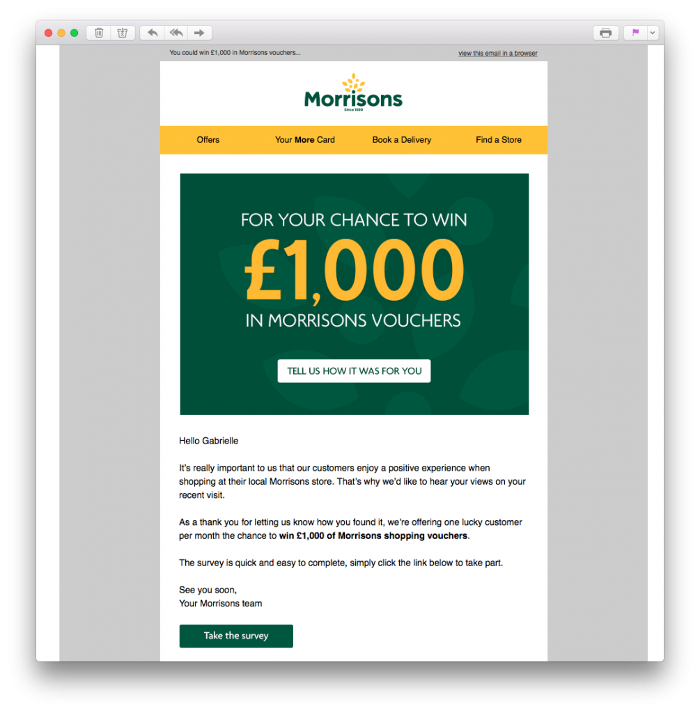 Morrison's customer feedback email