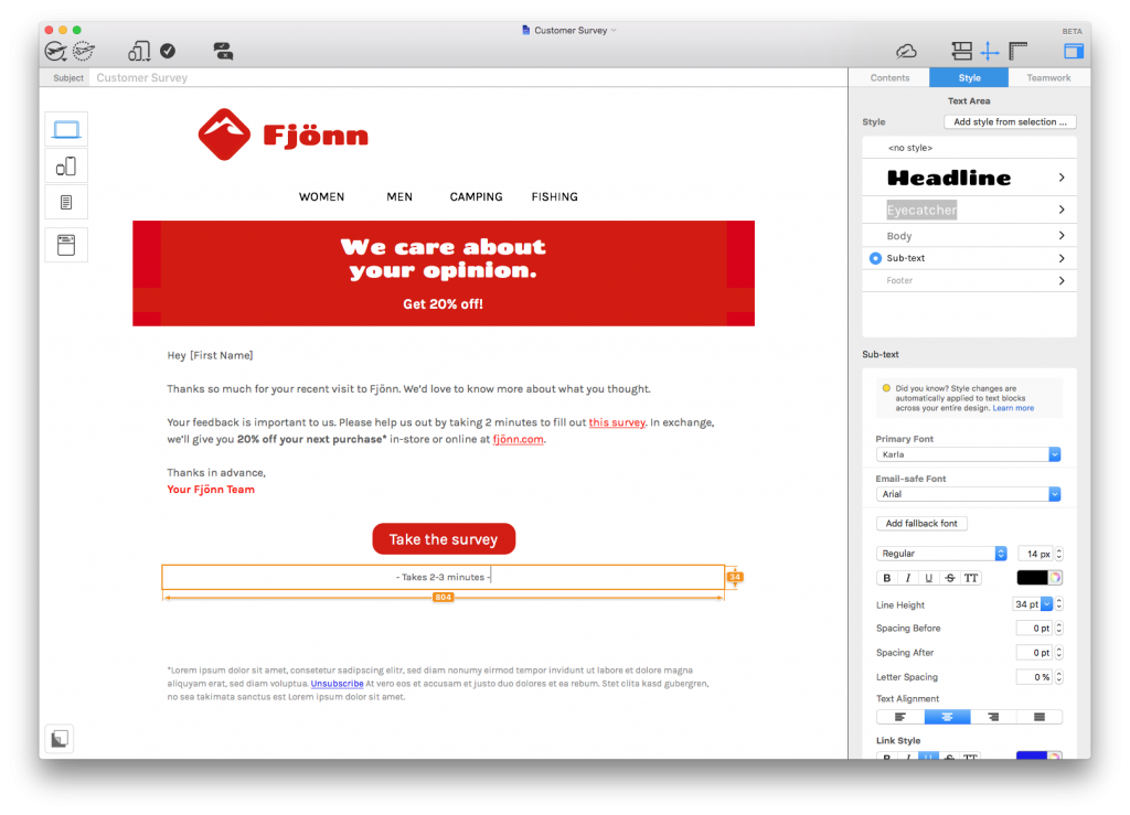 Customer Survey html email template in Mail Designer 365