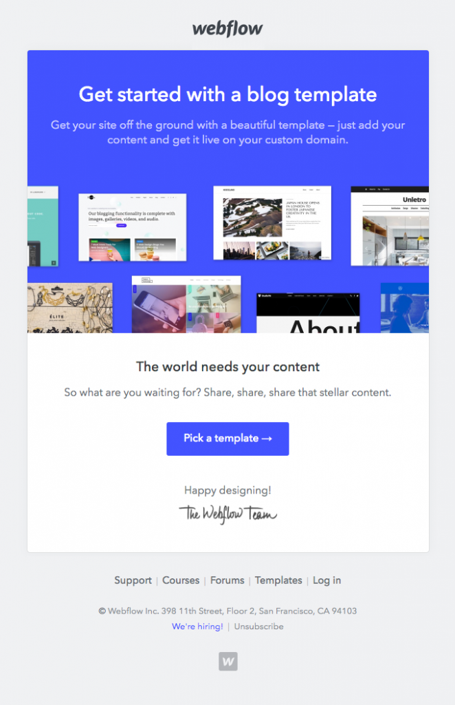 Onboarding email by Webflow