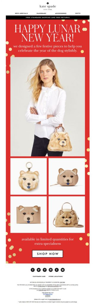 Chinese New Year email campaign by Kate Spade