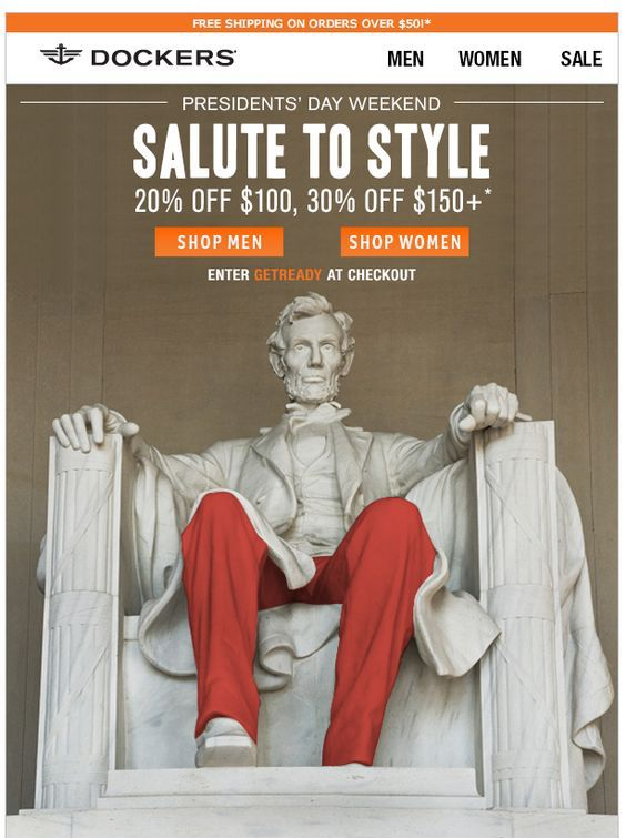 Presidents' Day email design by Dockers