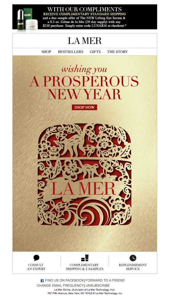 Chinese New Year email marketing campaign by La Mer