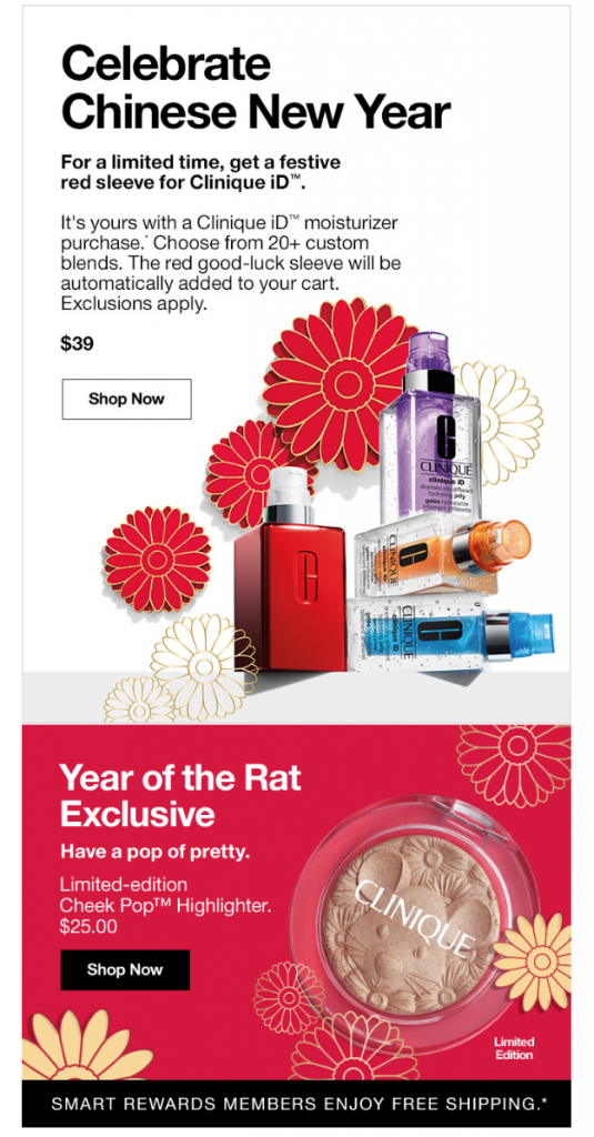 Chinese New Year email campaign by Clinique
