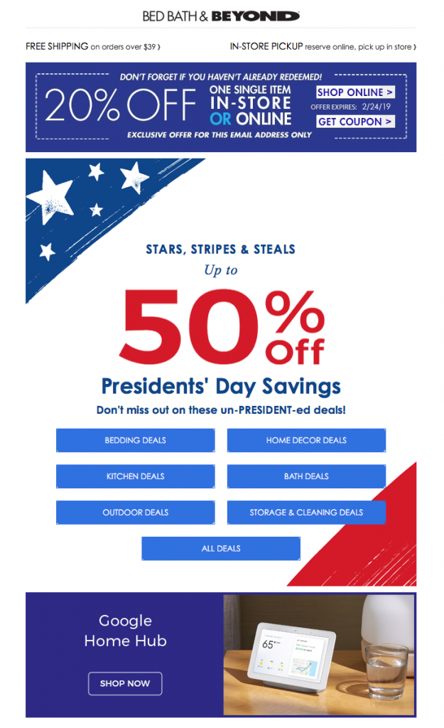 Presidents' Day email campaign by Bed Bath & Beyond