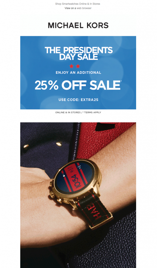 Email campaign by Michael Kors for Presidents' Day