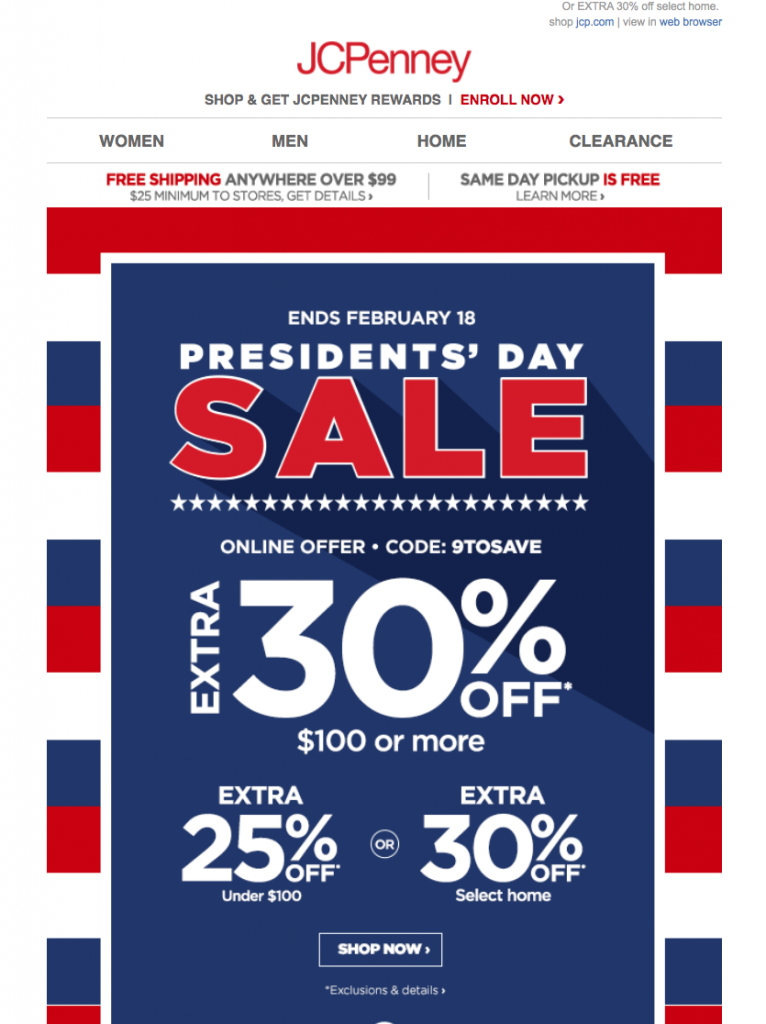 Presidents' Day email by JCPenney