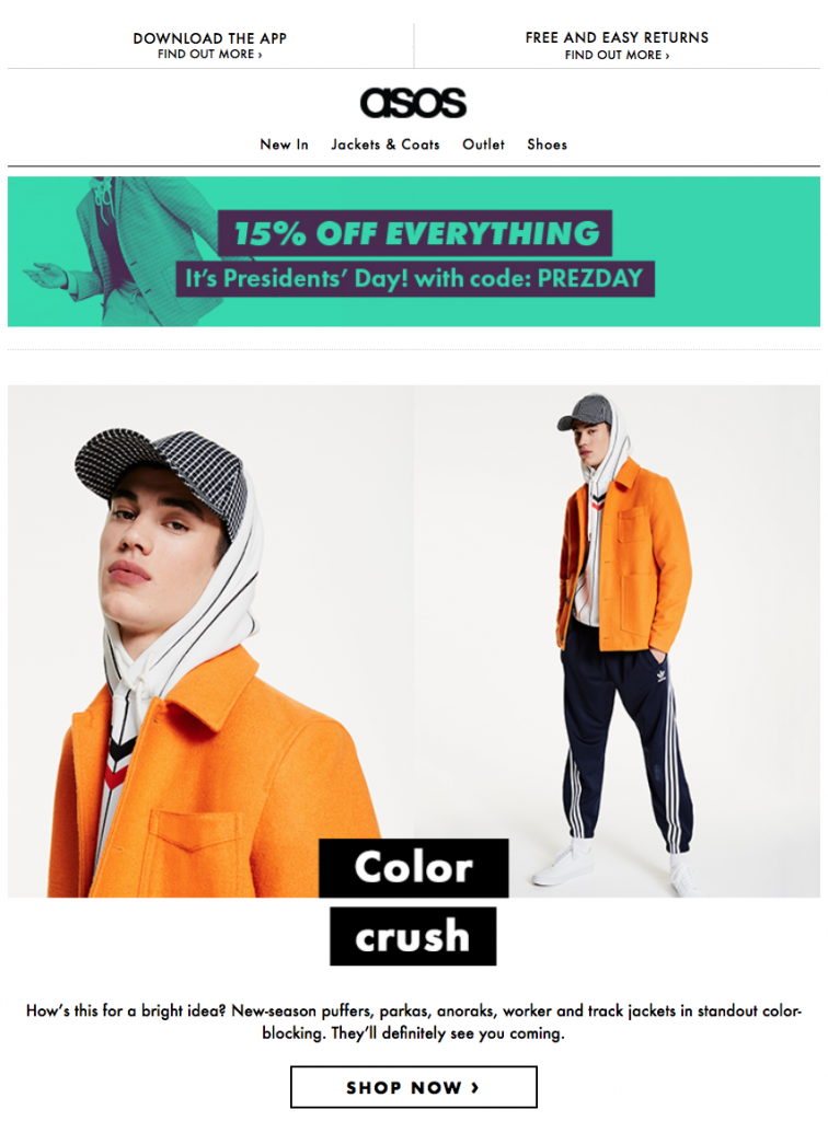 Presidents' Day email campaign by ASOS