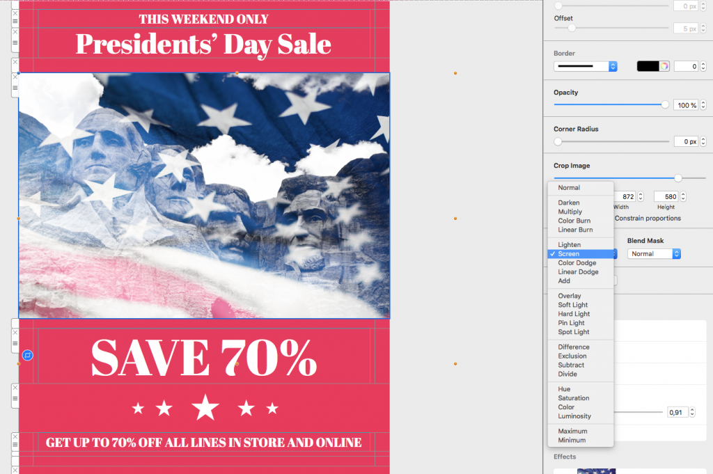 Example Presidents' Day email campaign built using Mail Designer 365