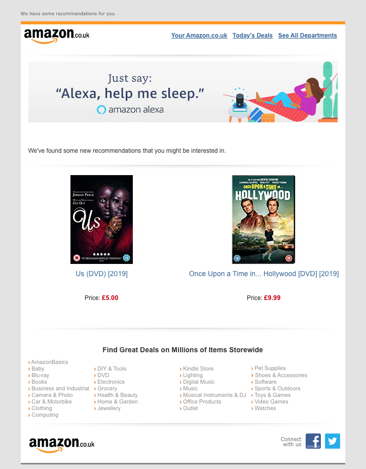 Amazon's product recommendation emails come as a result of their email list segmentation.