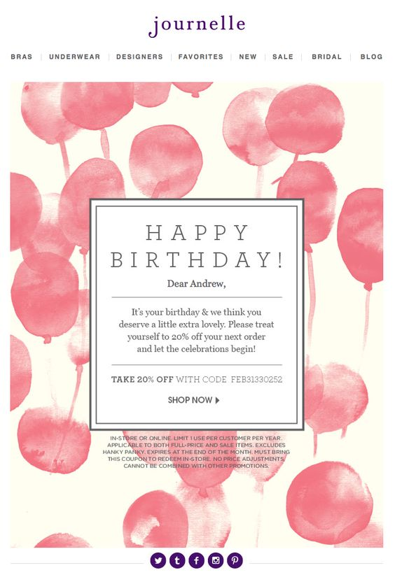 Customer birthday email by Journelle