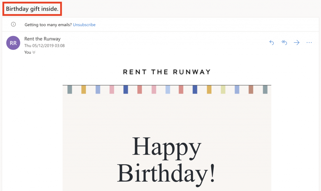 Happy Birthday email subject by Rent the Runway