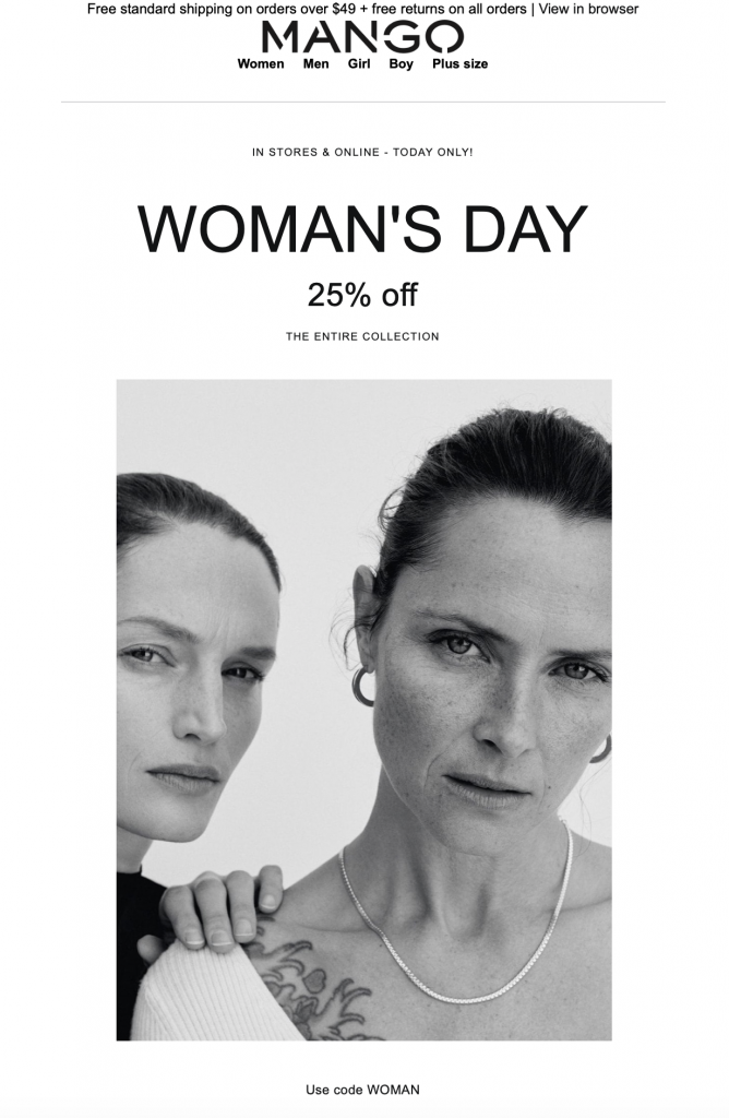 Mango Women's Day email campaign