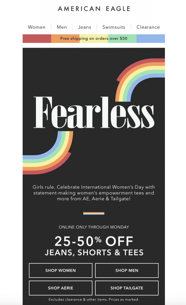 International Women's Day email template by American Eagle