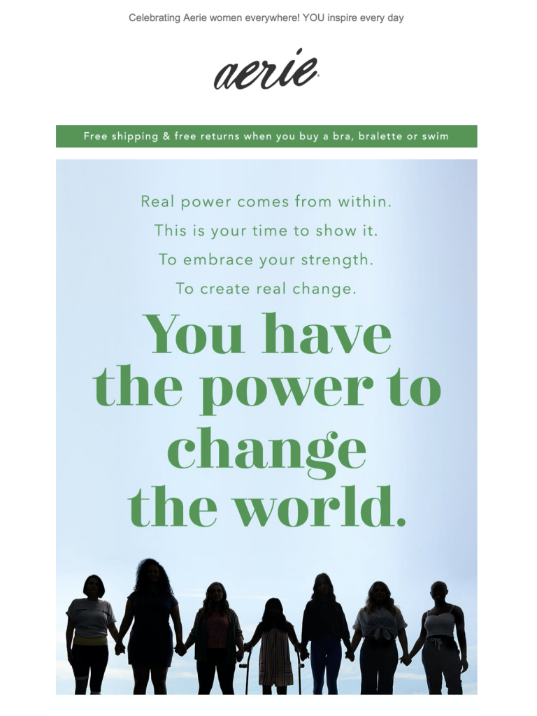 Aerie's International Women's Day campaign in 2019