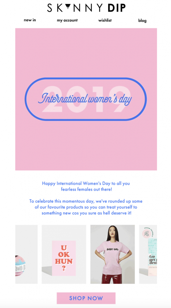 Women's Day email campaign by Skinny Dip