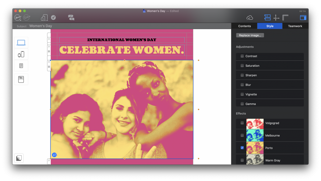 International Women's Day campaign made in Mail Designer 365