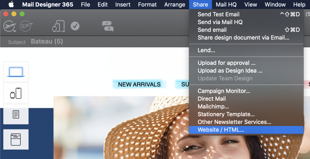 Exporting a Mail Designer 365 template as a HTML file