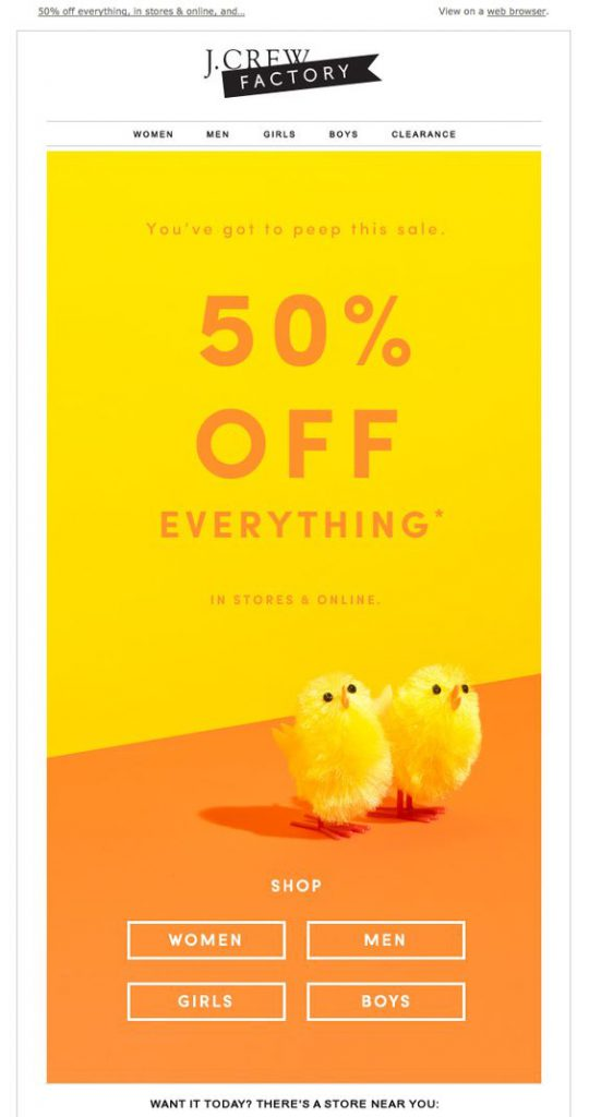 Yellow and orange Easter email campaign by J Crew