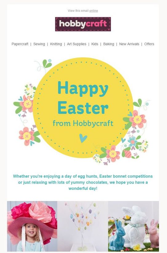 Happy Easter message by Hobbycraft