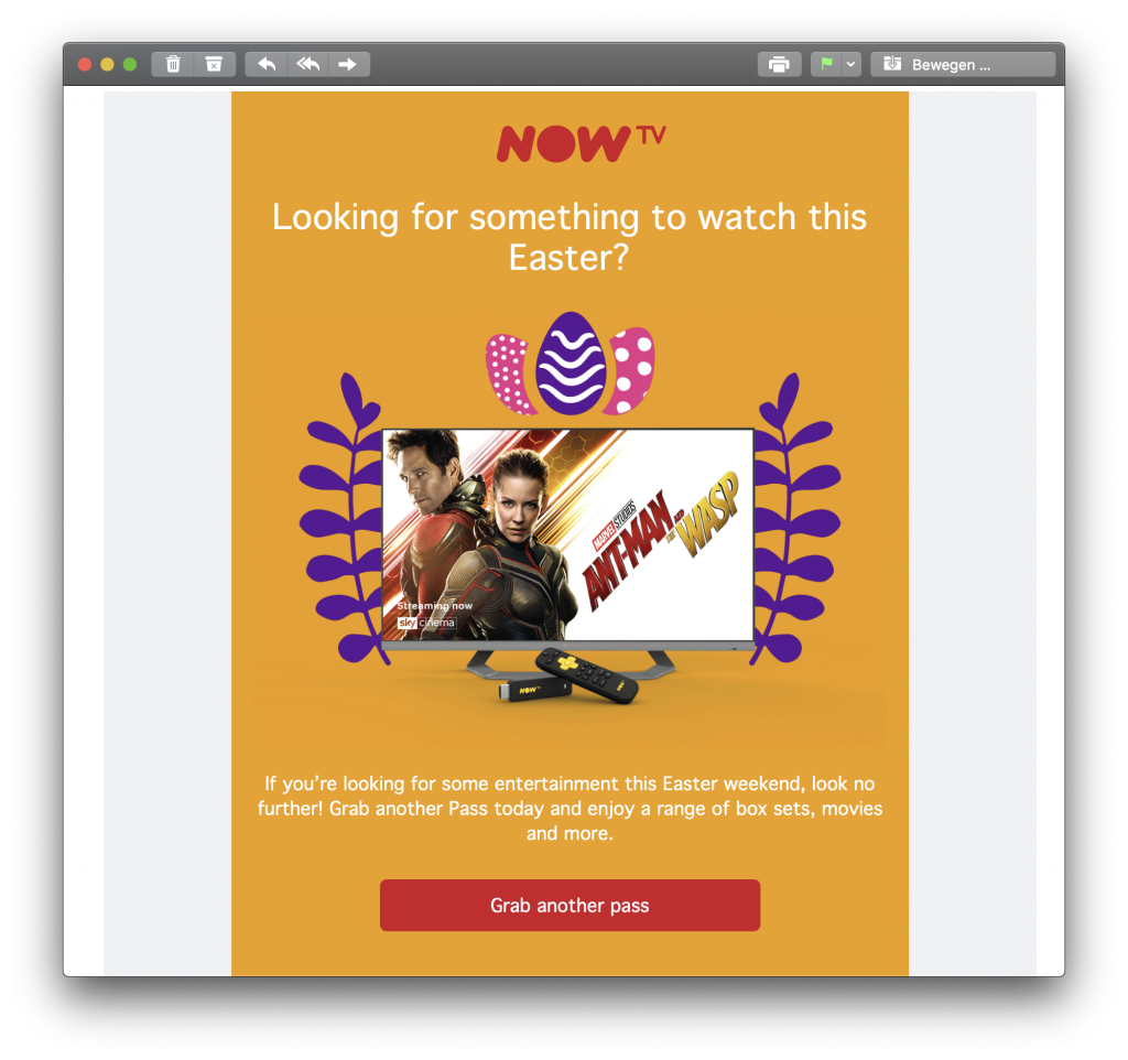 NOW TV Easter email campaign