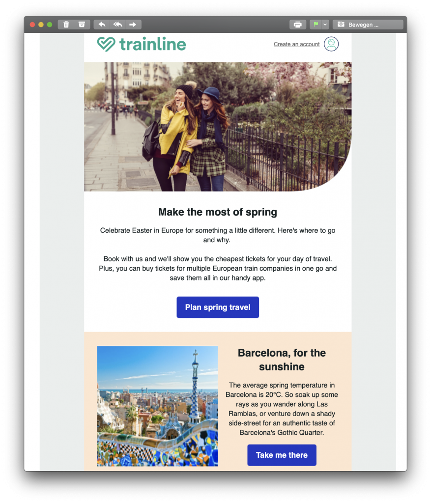 Trainline's travel-themed Easter email campaign