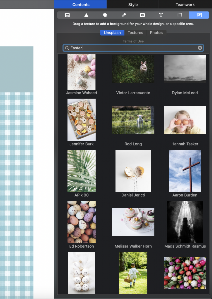 Searching for Easter stock images in Unsplash
