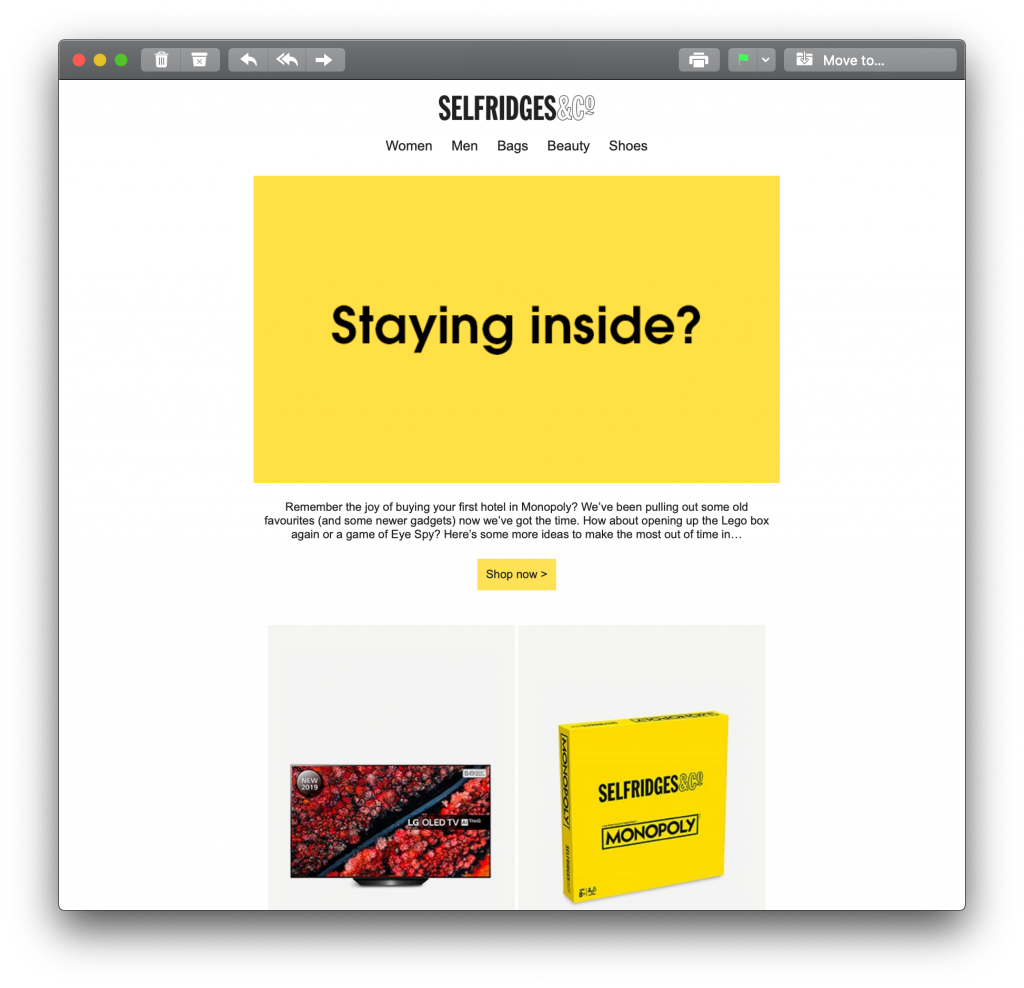 Email campaign sent by Selfridges during the Coronavirus crisis