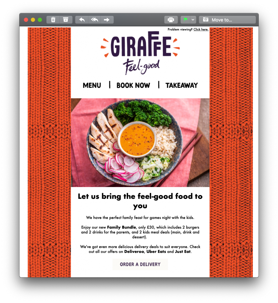 Email campaign by Giraffe adapted for the COVID 19 crisis