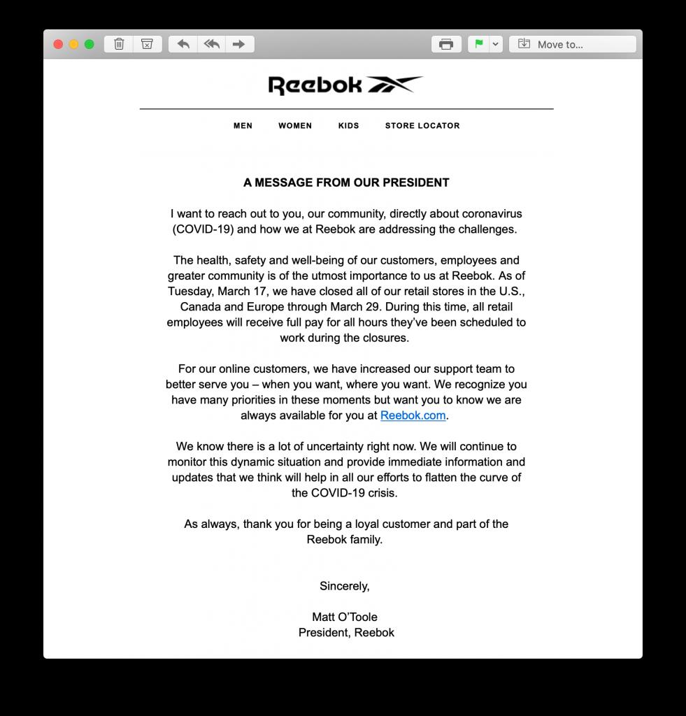 Coronavirus crisis statement from Reebok